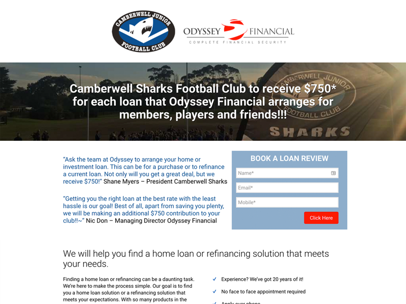Odyssey Financial Camberwell Sharks Landing Page